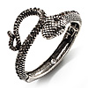 Vintage Diamante Snake Bangle Bracelet (Burn Silver Tone)