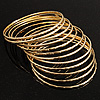 Gold Plated Thin Smooth &amp; Textured Bangle Set - 12 Pcs [BA00819]