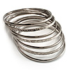 Rhodium Plated Thin Smooth &amp; Textured Bangle Set - 7 Pcs [BA00820]