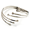 Rhodium Plated Crystal Armlet Bangle