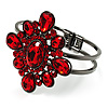 Hot Red Crystal Floral Hinged Bangle Bracelet (Gun Metal)