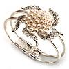 Bridal Imitation Pearl Flower Hinged Bangle Bracelet (Silver Tone)