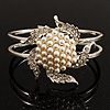 Bridal Pearl Style Flower Hinged Bangle Bracelet (Silver Tone)