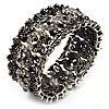 Victorian Filigree Crystal Heart Cuff Bangle (Burn Silver Tone)