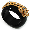 Black Resin Crystal 'Tiger' Bangle (Gold Tone) - Catwalk 2014