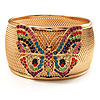 Wide Multicoloured Butterfly Mesh Bangle Bracelet (Gold Tone) - 18cm Length