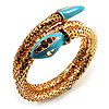 Gold Plated Diamante Snake Flex Bangle Bracelet