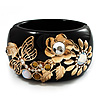 Wide Black Resin &#039;Flower &amp; Butterfly&#039; Hinged Bangle Bracelet