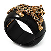 Black Resin Crystal &#039;Tiger&#039; Hinged Bangle (Gold Tone) - Catwalk 2012