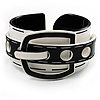 Stylish Chunky Acrylic Belt Cuff Bangle (White &amp; Black) - up to 18cm wrist