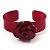 Crimson Acrylic Rose Cuff Bangle