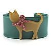 Kitty With Crystal Bow Teal Plastic Cuff Bangle