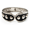 Black Enamel Studded Hinge Bangle Bracelet ( Silver Tone) - 18cm Length