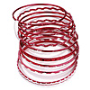 Red Smooth & Textured Glitter Metal Bangles - Set of 10Pcs