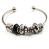 Silver Tone Black Glass &amp; Metal Bead Cuff Bangle