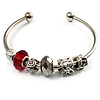Silver Tone Red Glass & Metal Bead Cuff Bangle