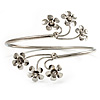Rhodium Plated Diamante Floral Upper Arm Bracelet
