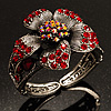 Striking Diamante Flower Hinged Bangle Bracelet ( Burn Silver & Burgundy Red)