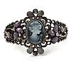 Victorian Style Cameo Diamante Bangle Bracelet (Burn Silver)