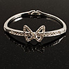 Delicate Crystal Bow Bangle Bracelet (Silver Tone)