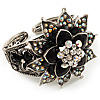 Divine AB Crystal Flower Hinged Bangle Bracelet (Burn Silver)
