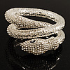 Dazzling Coil Flex Snake Bangle Bracelet (Silver Tone)