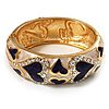 Light Cream & Purple Enamel Crystal Heart Hinged Bangle Bracelet (Gold Tone)