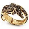 Vintage Crocodile Hinged Bangle Bracelet (Antique Gold Tone)