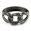 Gun Metal Knot Hinged Bangle Bracelet