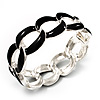 &#039;Oval Link Chain&#039; Black Enamel Hinged Bangle Bracelet (Silver Tone)