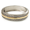 Two Tone Ornamental Hinged Bangle Bracelet