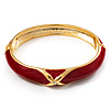 Red Enamel Crystal Cross Hinged Bangle Bracelet (Gold Tone)