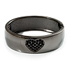 Gun Metal Black Crystal Hinged Bangle Bracelet