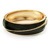 Olive Green Enamel Diagonal Hinged Bangle Bracelet (Gold Tone)