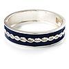 Blue Ornamental Enamel Hinged Bangle Bracelet (Silver Tone)