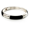 Thin Classic Black Enamel Hinged Bangle Bracelet (Silver Tone)