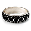 Black Enamel &#039;Honeycomb&#039; Hinged Bangle Bracelet (Silver Tone)