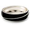 Black Enamel Diagonal Hinged Bangle Bracelet (Silver Tone)