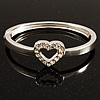Romantic Crystal Heart Hinged Bangle Bracelet (Silver Tone)