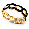 'Oval Link Chain' Jet Black Enamel Hinged Bangle Bracelet (Gold Tone)