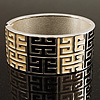 Wide Black &amp; Ivory Maze Enamel Hinged Bangle Bracelet (Silver Tone)