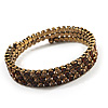 Burn Gold Amber Coloured Crystal Multistrand Flex Bangle Bracelet