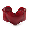 Burgundy Red Acrylic Heart Cuff Bangle