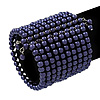 Wide Purple Acrylic Bead Flex Bangle Bracelet - 6cm Width