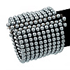 Wide Ash Grey Acrylic Bead Flex Bangle Bracelet - 6cm Width