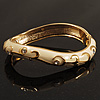 Ivory Enamel Curvy Crystal Hinged Bangle (Gold Tone Finish)