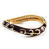 Deep Purple Enamel Curvy Crystal Hinged Bangle (Gold Tone Finish)