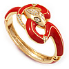 Gold Plated Crystal Coral Enamel Hinged Snake Bangle Bracelet