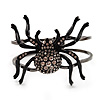 Gun Metal Crystal Spider Hinged Bangle Bracelet