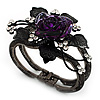 Chic Purple Resin Diamante Rose Hinged Bangle Bracelet (Gun Meal Finish)